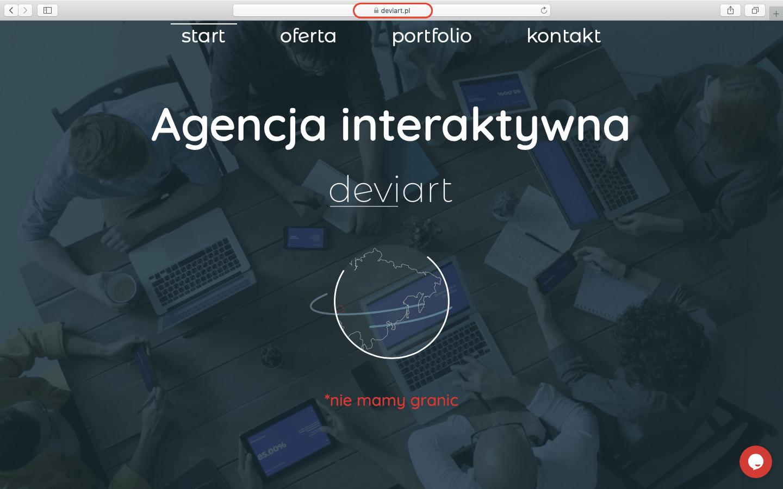 Co to jest domena? Pokazane na zrzucie ekranu w postaci adresu devispace.pl